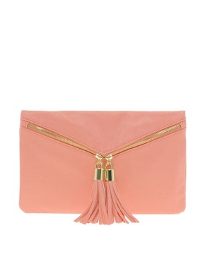 Image 1 of ASOS Clutch Bag With Double Tassel Zip