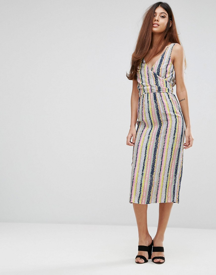 Warehouse Dash Stripe Wrap Dress - Stripe