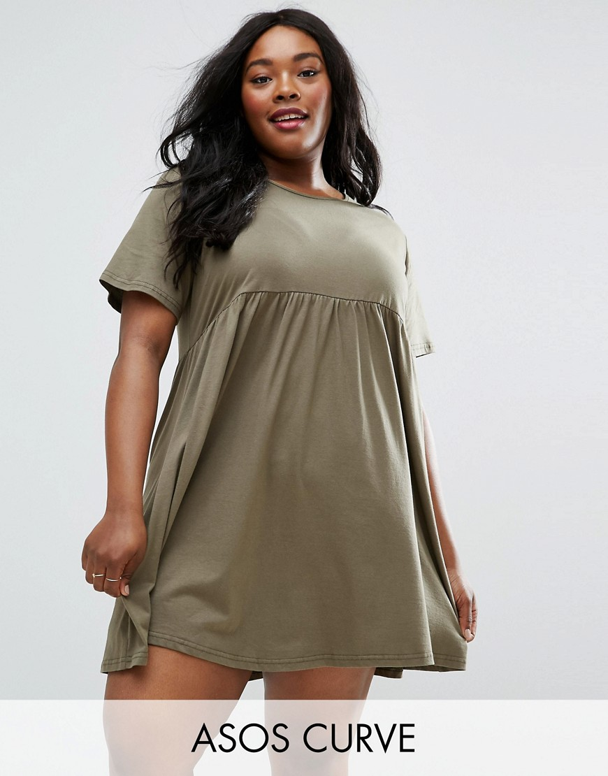 ASOS CURVE Ultimate Smock Dress - Green