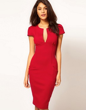 Image 1 ofASOS Sexy Pencil Dress with Pockets