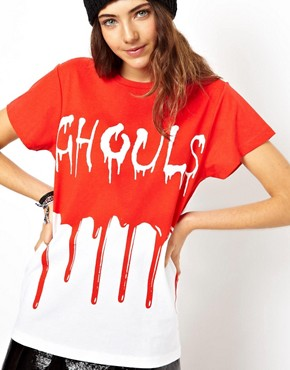 Image 1 of ASOS Halloween T-Shirt with Ghouls Print