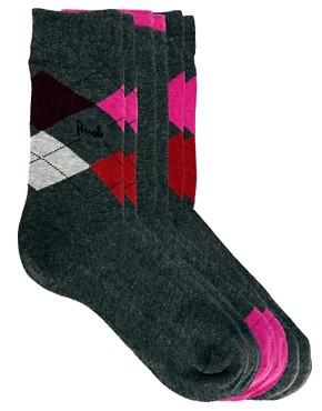 Image 1 ofPringle 3 Pack Argyle Socks