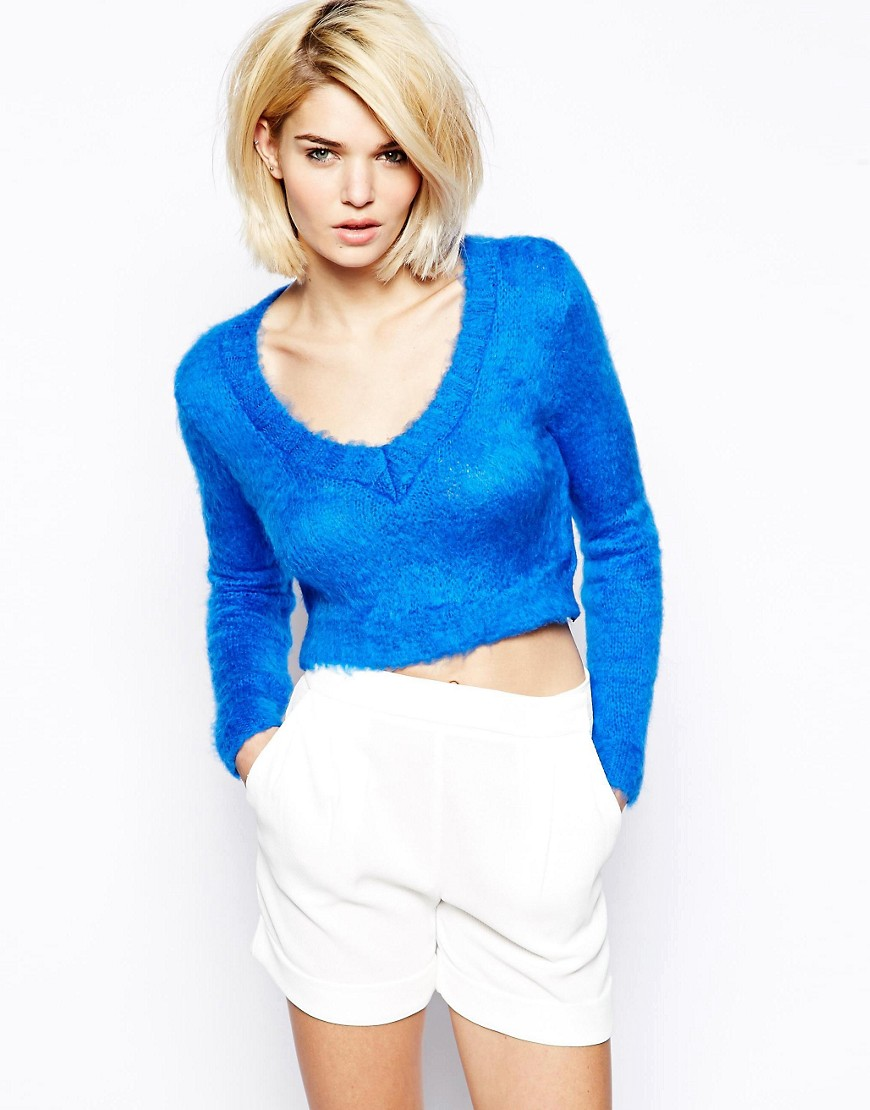 Love Crop Jumper with V Neck - Blue