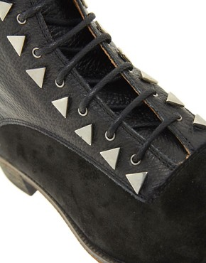 Image 2 ofNew Kid Exclusive Penny Dreamcore Stud Black Lace Up Ankle Boots