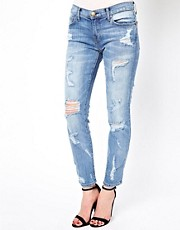 Current/Elliot Distressed Stiletto Skinny Jeans