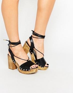 Boohoo Tie Up Platform Sandal