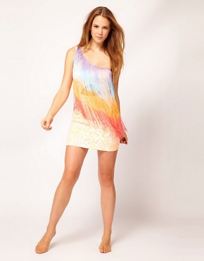 Image 4 ofRiver Island One Shoulder Fringed Aztec Print Dress