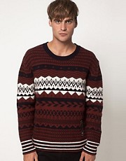 Diesel Jumper Crew Neck With Alpine Print