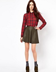 Oasis Faux Leather Skater Skirt