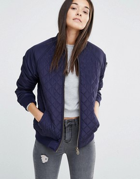 New Look Quilted Bomber Jacket