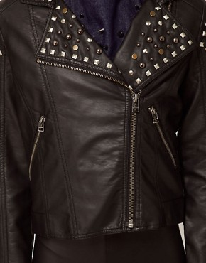 Image 3 ofASOS Studded Leather Look Biker