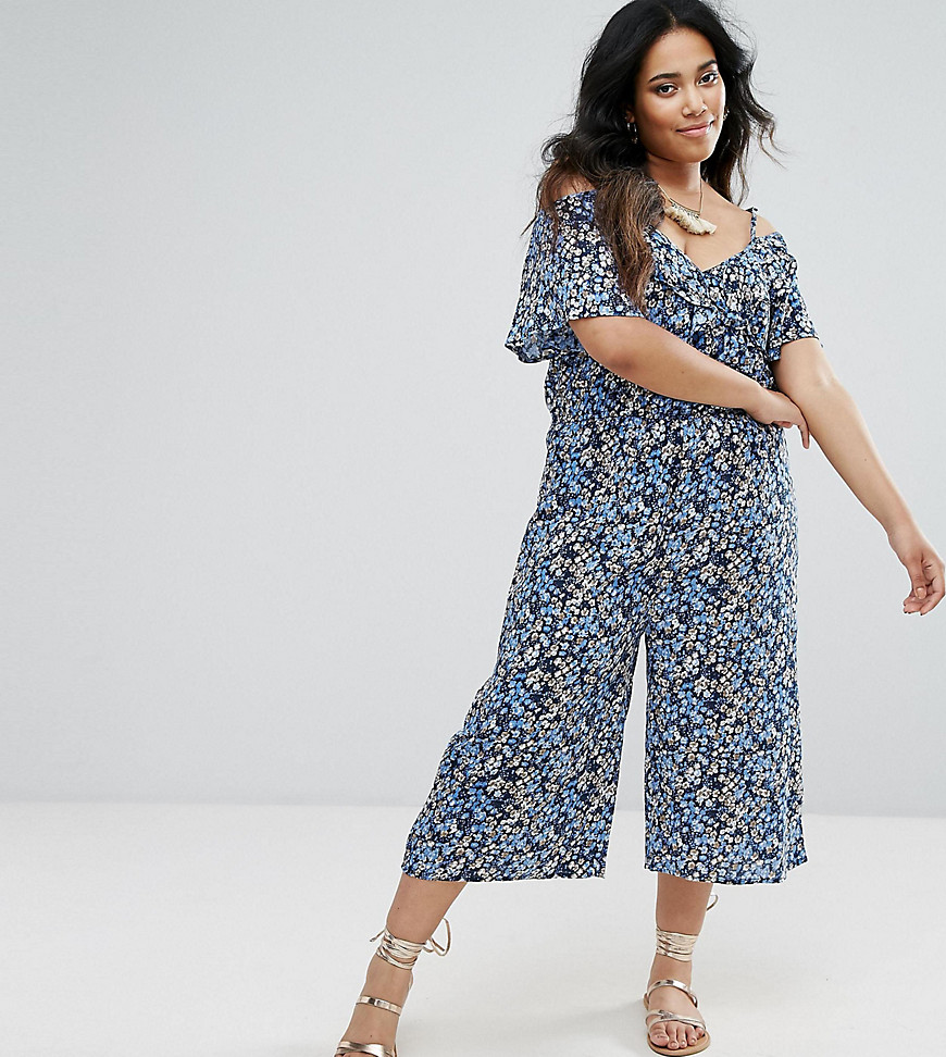 Diya Plus Culotte Jumpsuit With Frill Detail And Cold Shoulder