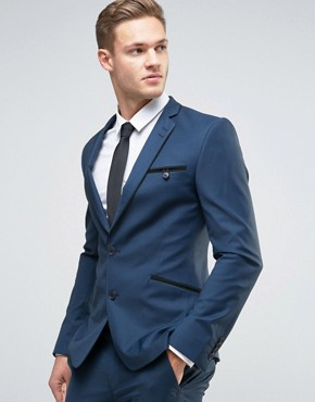 ASOS Super Skinny Suit Jacket in Navy with Piping