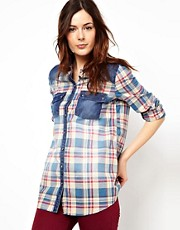 River Island Check Long Sleeve Boyfriend Shirt