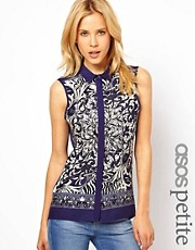 ASOS PETITE Sleeveless Shirt in Scarf Print
