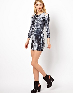 Image 4 ofFactory by Erik Hart Jersey Dress With Shoulder Cut Outs
