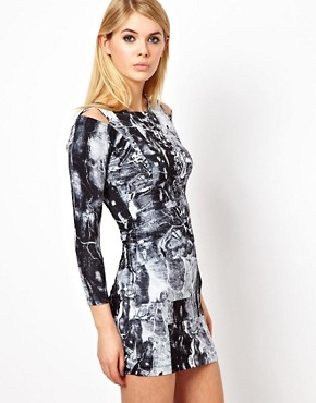 Image 1 ofFactory by Erik Hart Jersey Dress With Shoulder Cut Outs