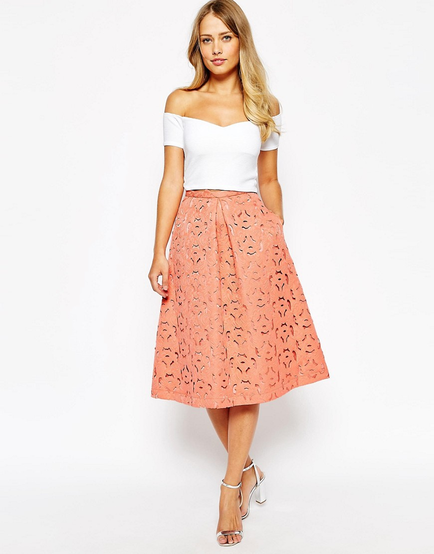 Image 1 of Oasis Cutwork Midi Skirt