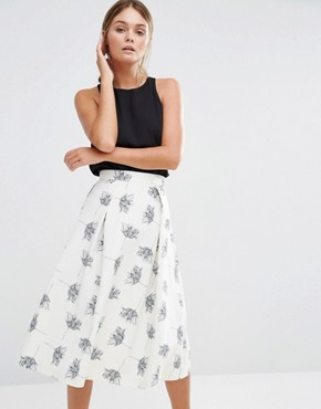 Warehouse Stencil Floral Midi Dress