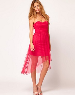 Image 1 ofRare Bandeau Dress With Dipped Hem
