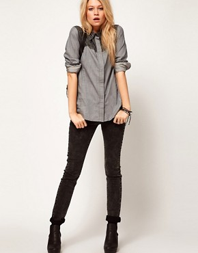 Image 4 ofASOS Denim Shirt with Studded Collar and Yoke