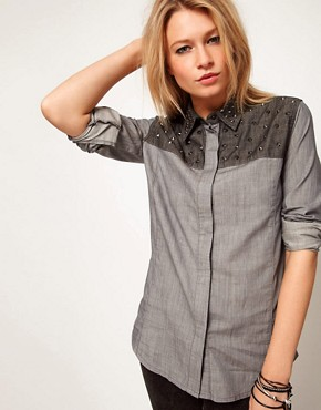 Image 1 ofASOS Denim Shirt with Studded Collar and Yoke