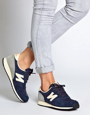 Image 3 ofNew Balance 420 Navy Suede Trainers