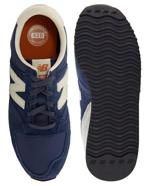 Image 4 ofNew Balance 420 Navy Suede Trainers