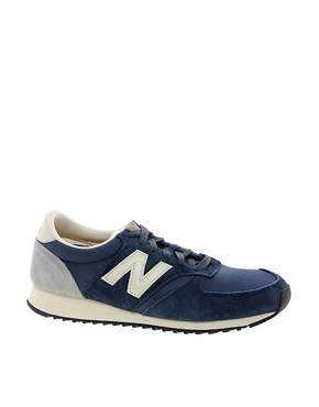 Image 1 ofNew Balance 420 Navy Suede Trainers