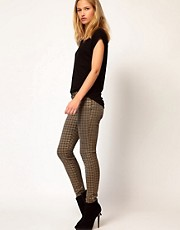 Current/ Elliot Ankle Skinny In Coated Brown Foil Houndstooth