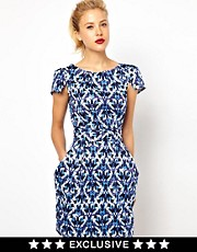 Closet Tie Back Dress with Pockets in Jewel Print