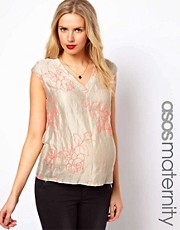 ASOS Maternity Top with Plunge Neck and Neon Embroidery