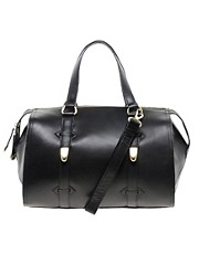River Island Black Hard Leather Bowler Bag