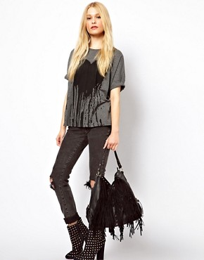 Image 3 ofNew Look Fringe Hobo Bag