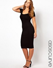 ASOS CURVE Exclusive Midi Bodycon Dress With Short Sleeves