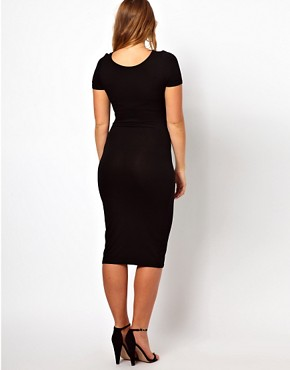 Image 2 ofASOS CURVE Exclusive Midi Bodycon Dress With Short Sleeves