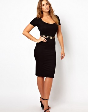 Image 4 ofASOS CURVE Exclusive Midi Bodycon Dress With Short Sleeves