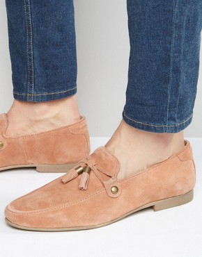 ASOS Loafers in Pink Suede With Tie Front Tassel