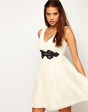 ASOS Deep V Neck Skater Dress With Embellished Lace Trim