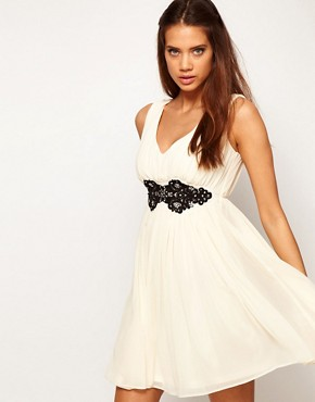 Image 1 ofASOS Deep V Neck Skater Dress With Embellished Lace Trim