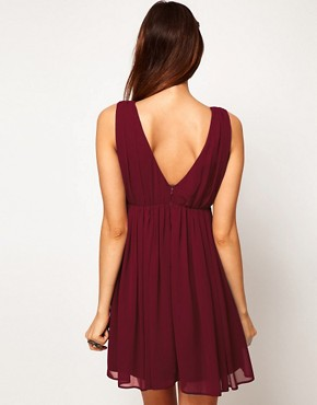 Image 2 ofASOS Deep V Neck Skater Dress With Embellished Lace Trim