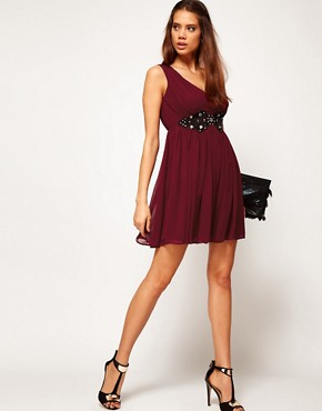 Image 4 ofASOS Deep V Neck Skater Dress With Embellished Lace Trim