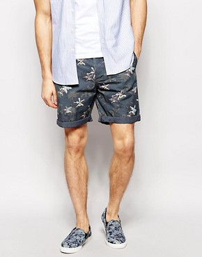 ASOS Chino Shorts With Dark Orchid Print