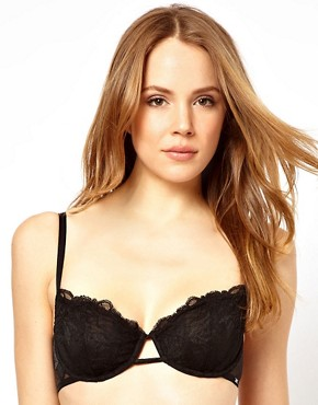 Image 1 ofCalvin Klein Black Lace Balconette Bra
