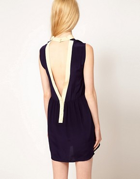 Image 2 ofSessun Dress with Contrast Collar and Open Back