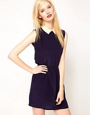 Sessun Dress with Contrast Collar and Open Back