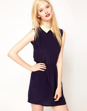 Image 1 ofSessun Dress with Contrast Collar and Open Back