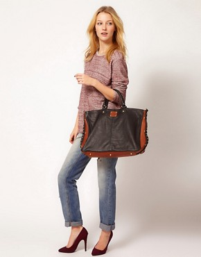Image 3 of Sara Berman Color Block Leather Cervia Tote