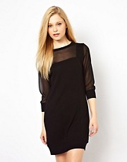 French Connection Dress With Sheer Sleeves And Insert Details