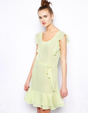 French Connection Penny Plains Dress with Woven Frilled Sleeve
